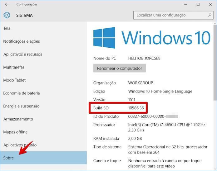 Verificando o número da build instalada no PC (Foto: Reprodução/Helito Bijora)
