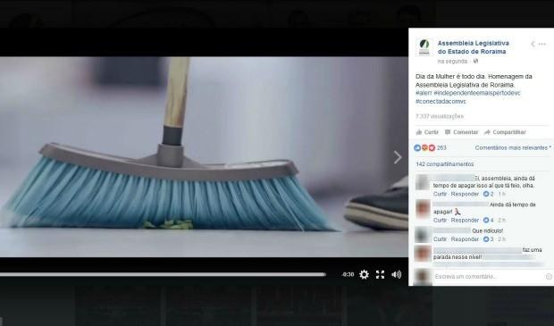 Primeira imagem do vídeo é um homem varrendo a casa (Foto: Reprodução/Facebook/Assembleia Legislativa do Estado de Roraima)