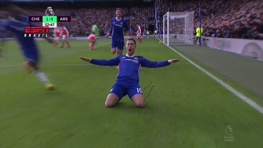Hazard faz fila na defesa do Arsenal e tem a pintura internacional da rodada