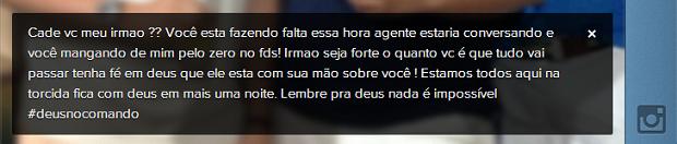 """Mensagem deixada por Popó questiona: """"Onde está você, meu irmão?"""" (Foto: Reprodução/Instagram)"""