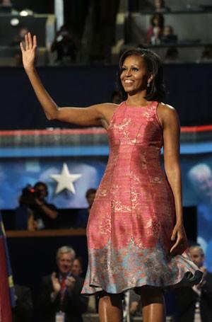 Michelle Obama durante a abertura da convenção democrata nesta terça-feira (4) (Foto: Charles Dharapak/AP)