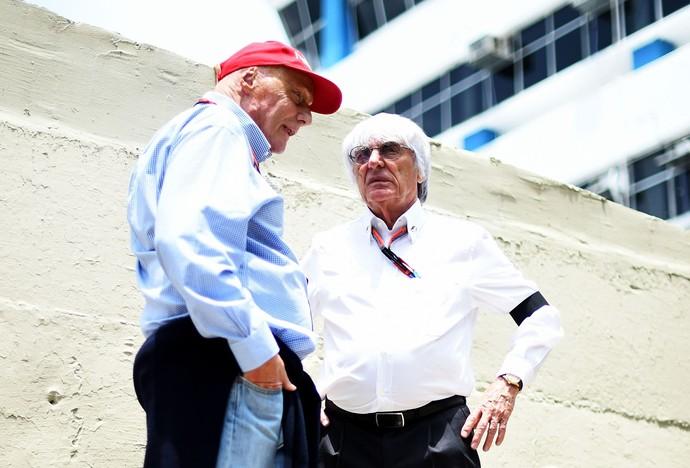 Niki Lauda e Bernie Ecclestone no GP da Austrália, em Melbourne (Foto: Getty Images)