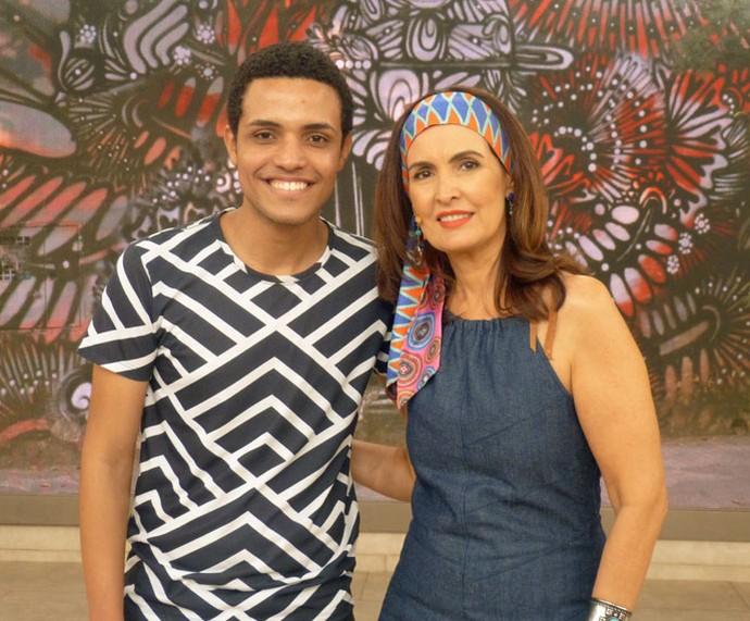 Fátima e convidado que participou do programa  (Foto: Vinícius Cunha/Gshow)