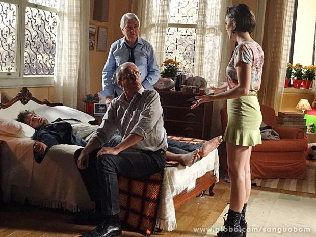 Giane avisa ao médico que ela mesma cuidará da saúde de Fabinho (Foto: Sangue Bom/TV Globo)