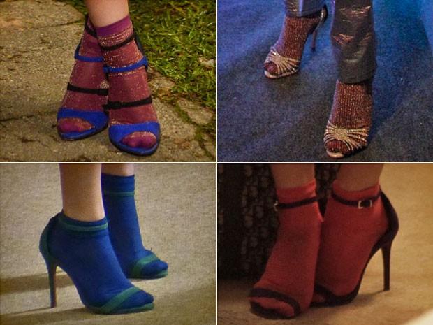 Elas não saem dos pés da moçoila! As meias de lurex são suas companheiras, faça chuva ou faça sol! (Foto: Gshow)