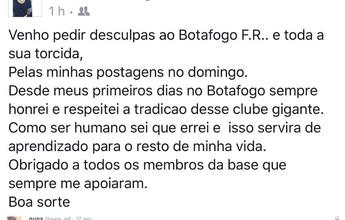 Desligado após polêmica no Twitter,  volante se desculpa com o Botafogo