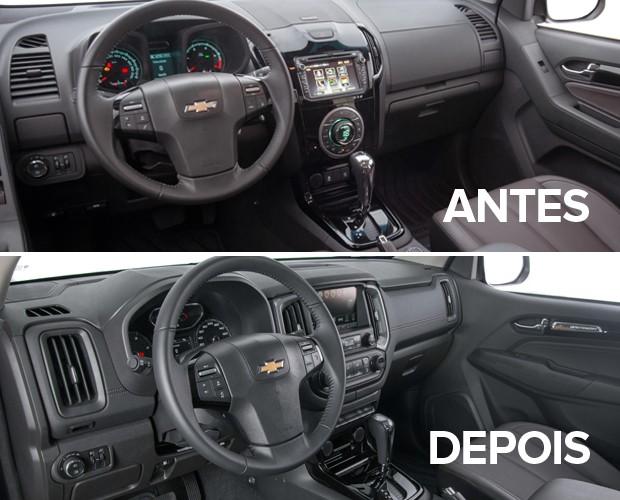 Painel da Chevrolet S10, nas linhas 2016 (acima) e 2017 (abaixo) (Foto: Divulgação)