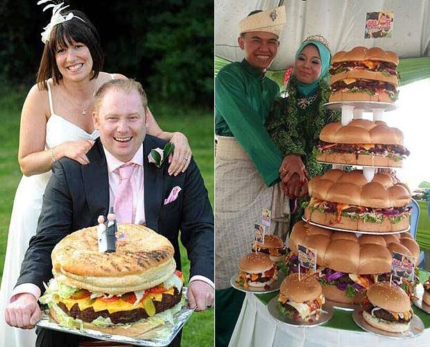 O casal inglês Tom e Kerry Watts optou por um modelo mais tradicional, com direito até a noivinhos. À dir., vários andares de bolo, quer dizer, hambúrgueres (Foto: Reprodução)