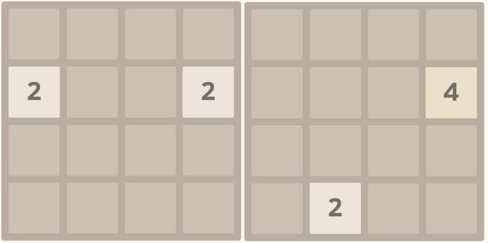 2048: cada movimento soma e adicionam novo quadrado (Foto: Reprodução)