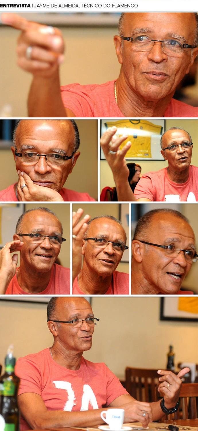 dde0ae2c7 Mosaico Jayme Flamengo entrevista (Foto  Editoria de arte    Globoesporte.com)