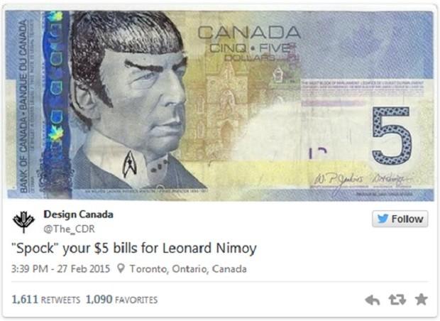 Canadenses homenageiam Spock, de 'Star trek', em cédulas de cinco (Foto: Reprodução/Twitter)