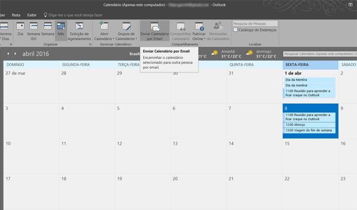 Você pode compartilhar seu calendário com outras pessoas no Outlook (Foto: Reprodução/Filipe Garrett)