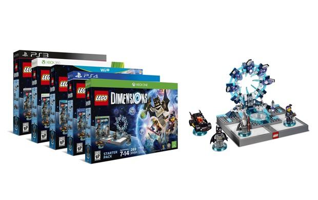 Kit padrão de 'Lego Dimensions' acompanha o game, três miniaturas e uma base para levar os bonecos para dentro do jogo (Foto: Divulgação/Lego)