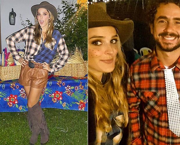 Look de Rafa Brites em festa junina, e com o marido, Felipe Andreoli (Foto: Arquivo pessoal)