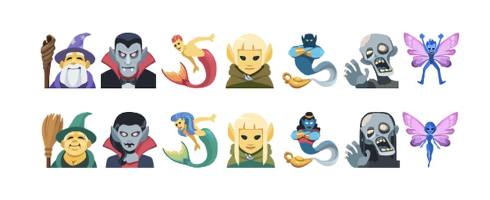 Atualização incluem criaturas como magos e zumbis (Foto: Reprodução/Emojipedia)