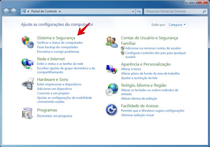 Clique em Sistema e Segurança (Foto: Reprodução/Helito Bijora)