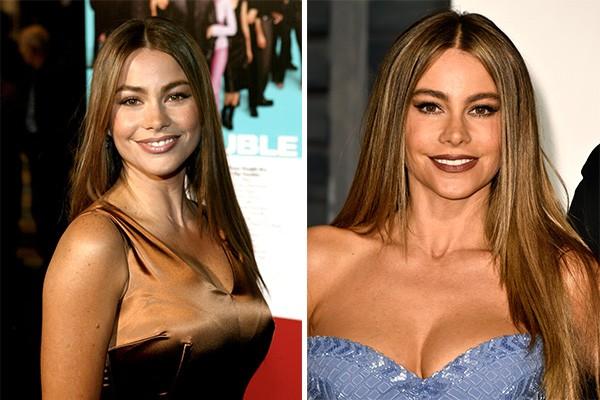 Sofia Vergara ('Modern Family') aos 29 anos em 2002 e atualmente (Foto: Getty Images)