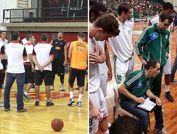 montagem Flamengo e Palmeiras basquete treino (Foto: Editoria de Arte / Globoesporte.com)