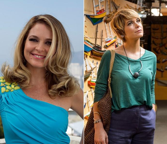 Antes e depois: Cláudia na pele de Pamela, em 'Geração Brasil', e Helô, em 'A Lei do Amor' (Foto: Globo/Etevan Avellar/Ramon Vasconcellos)