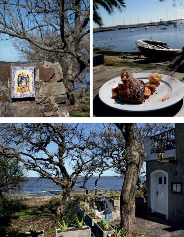 Acima à esq., imagem de São Miguel; ao lado, almoço com vista no La Trattoria. Abaixo, vista do Rio da Prata (Foto: Marcio Scavone)
