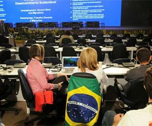 Sala de reunião dos Diálogos realizados durante o fim de semana na Rio+20 (Foto: Alexandre Durão/G1)