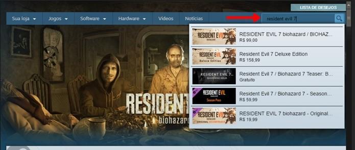 Pesquisa no Steam exibe diferentes versões de Resident Evil 7 (Foto: Reprodução/Felipe Demartini)