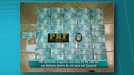 Polícia apreende mais de R$ 500 mil com quatro pessoas na BR-277
