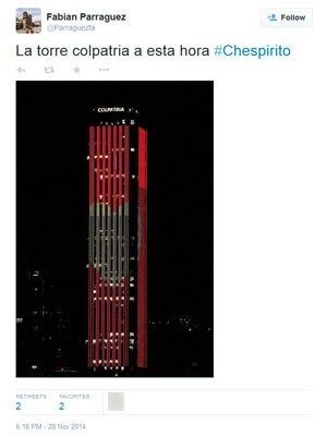 Torre comercial na Colômbia faz homenagem a Roberto Bolaños (Foto: Reprodução/Twitter/Parraguezfa)