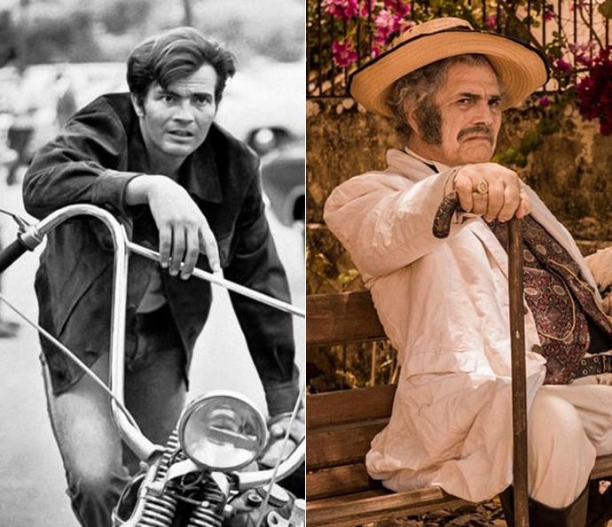 À esquerda, Tarcísio Meira com o visual de 1973. À direita, o consagrado ator já caracterizado como o poderoso coronel Jacinto  (Foto: Cedoc/TV Globo / Caiuá Franco/ Globo)