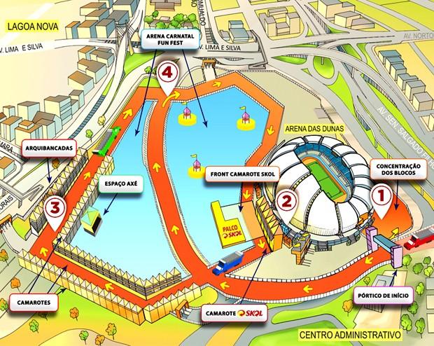 Mapa oficial do circuito do Carnatal 2014  (Foto: Divugação/Destaque)