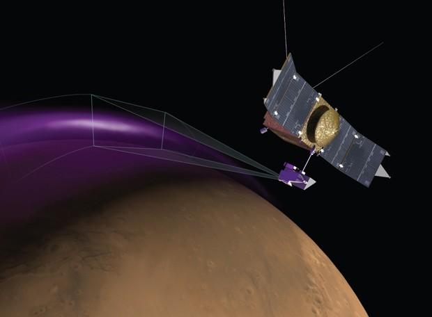 """Concepção artísticada mostra sonda MAVEN observando a aurora """"luzes de Natal"""", em Marte  (Foto: University of Colorado/Nasa)"""