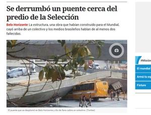 """Acidente Viaduto Belo Horizonte Capa Clarín (Foto: Reprodução/""""Clarín"""")"""