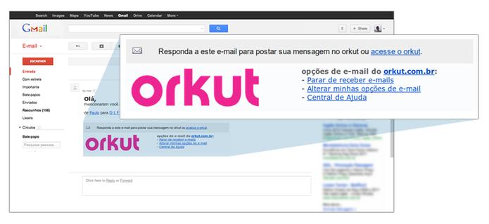 Scraps do Orkut respondidos por e-mail. (Foto: Reprodução/Orkut)