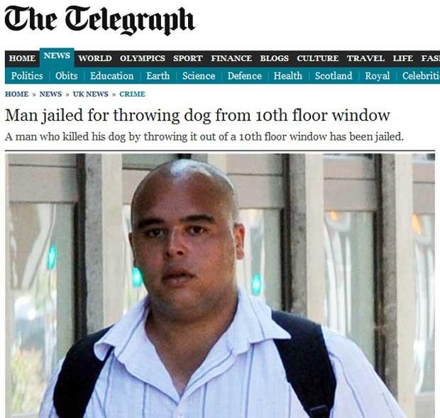 O inglês James Bray foi condenado após admitir ter jogado seu cachorro pela janela do 10º andar (Foto: Reprodução)