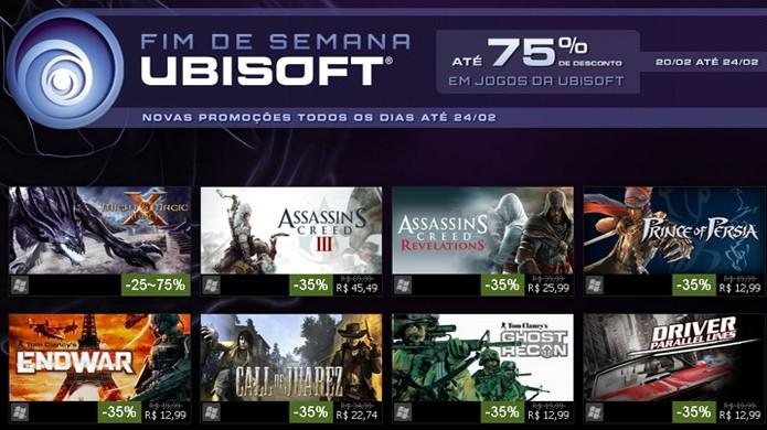 Fim de Semana Ubisoft traz jogos de PC com até 75% de desconto (Foto: Reprodução)