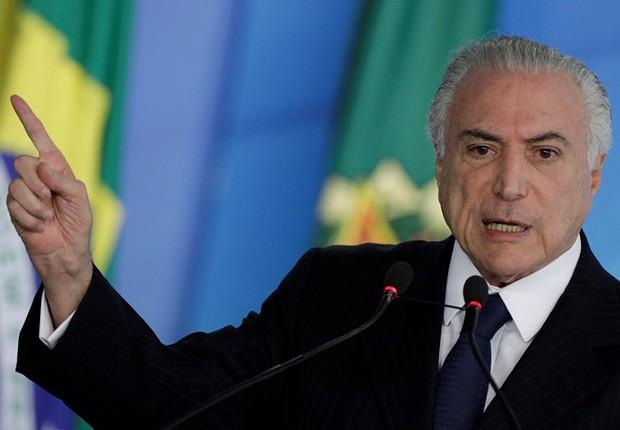 Presidente Michel Temer durante cerimônia no Palácio do Planalto, em Brasília (Foto: Ueslei Marcelino/Reuters)