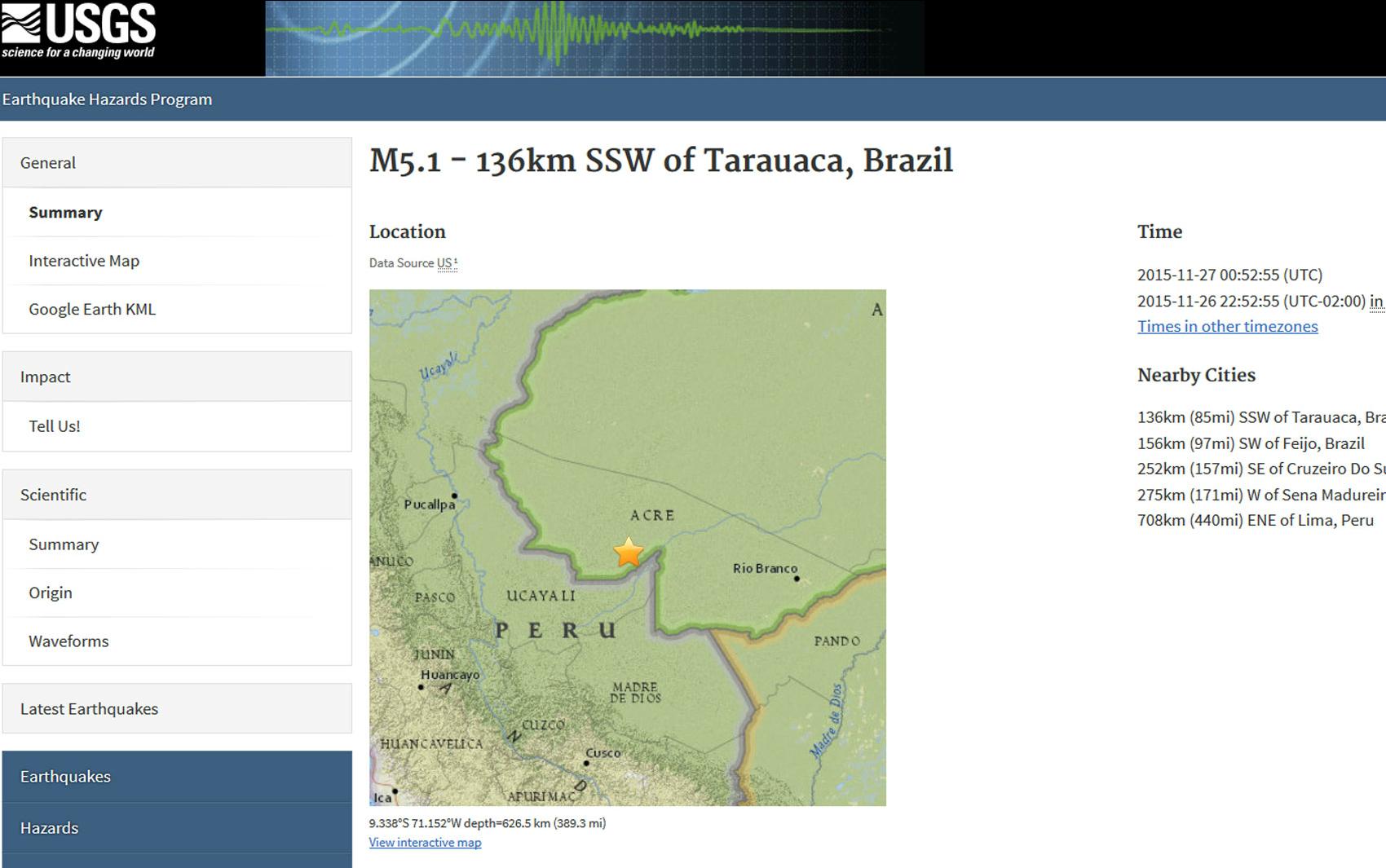 Terremoto de magnitude 5,1 atingiu município de Tarauacá, no Acre (Foto: Reprodução/USGS)