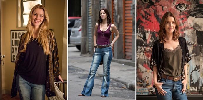 Júlia usa peças em tecidos fluidos, jeans e camisetas (Foto: Felipe Monteiro/Gshow; Ellens Soares/Gshow; Divulgação/Globo)