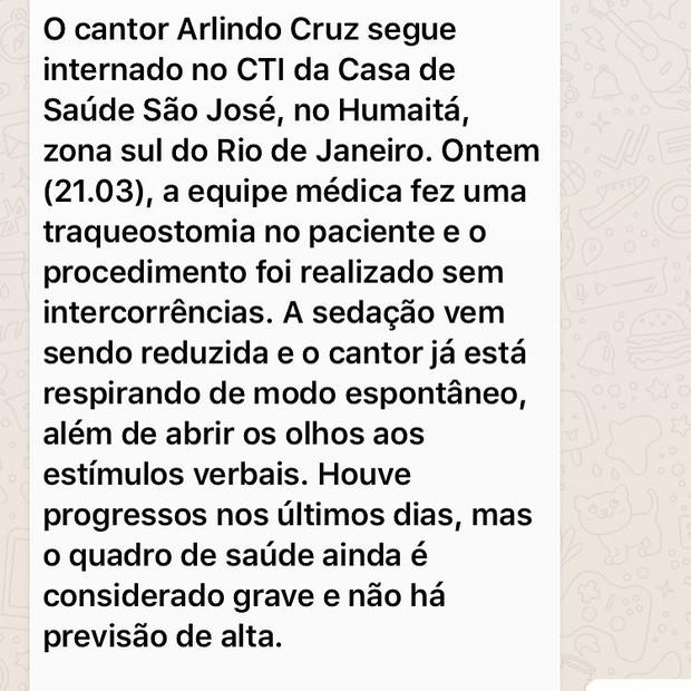 Nota Arlindo Cruz (Foto: Reprodução / Instagram)