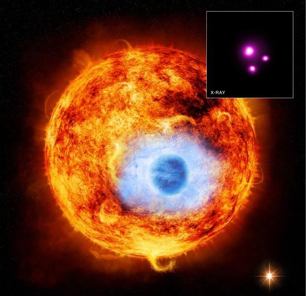 Concepção artística mostra o planeta HD 189733b passando diante de estrela; no detalhe, dados obtidos por raio-X (Foto: Divulgação/Nasa/CXC/SAO/K.Poppenhaeger)