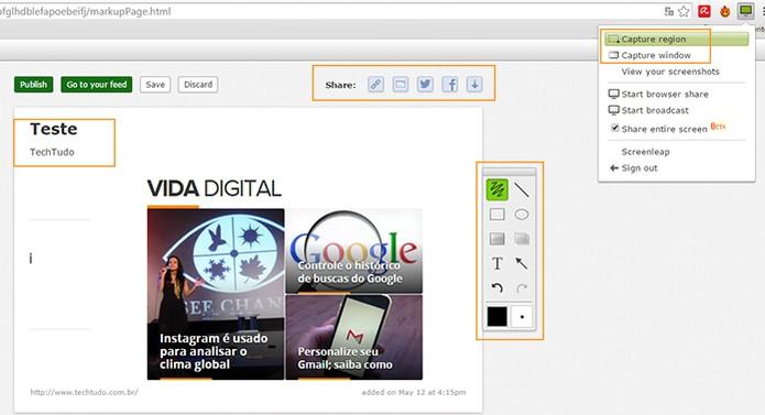 Recurso permite salvar screenshots da tela (Foto: Reprodução/Barbara Mannara)