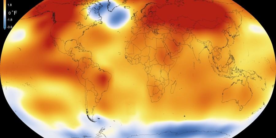 Anomalia de temperatura no planeta Terra em 2015. Áreas em vermelho registraram temperatura mais quente do que a média. 2015 bateu o recorde de ano mais quente já registrado (Foto: Nasa)