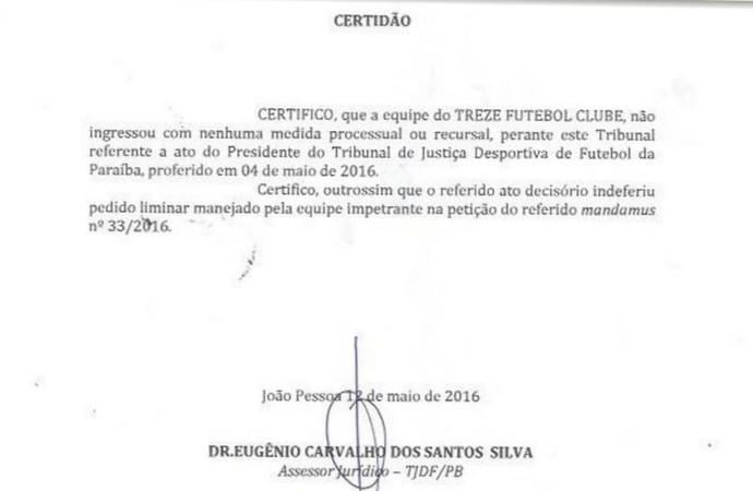 Certidão, TJD-PB, FPF, Paraibano (Foto: Divulgação / TJD-PB)