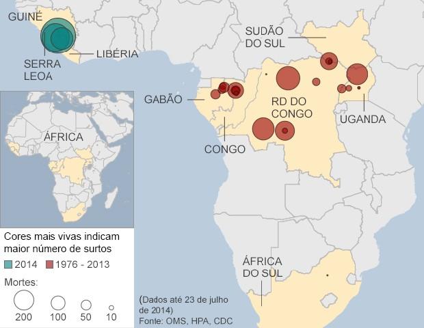 Mapa mostra locais acometidos pelo ebola na África (Foto: BBC)