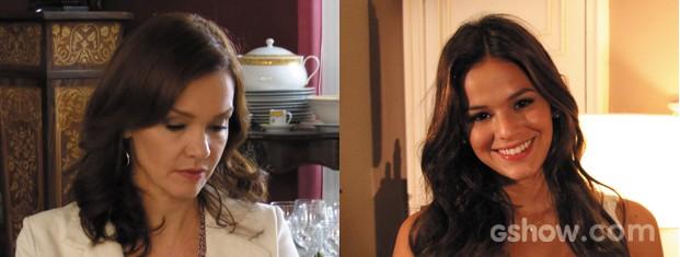 Helena e Luiza adoram o look clean com o  nude como tom principal (Foto: Em Familia/TVGlobo)