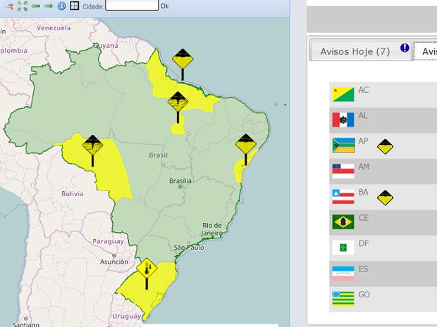 Tocantins tem mais de 40 cidades em alerta (Foto: Reprodução/Inmet)