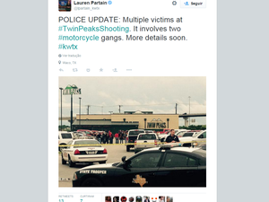 Vista do restaurante Twin Peaks, em Waco, onde ao menos nove pessoas morreram (Foto: Reprodução/Twitter/@lpartain_kwtx)