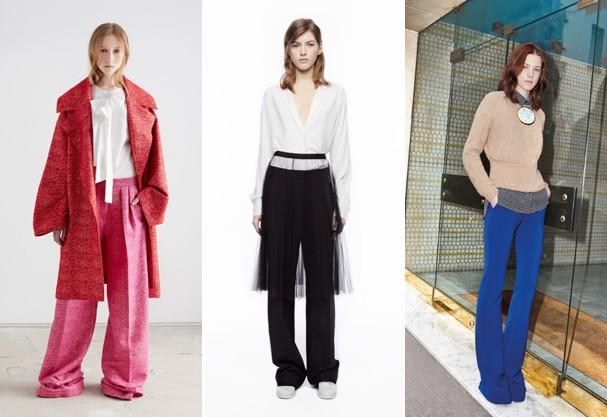 Roksanda Ilincic, DKNY e Carven mostram formas diferentes de usar a calça larga - hit da vez (Foto: Divulgação)