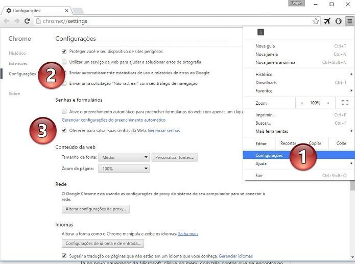 Configurando o recurso de salvamento de senhas no Chrome (Foto: Felipe Alencar/TechTudo)