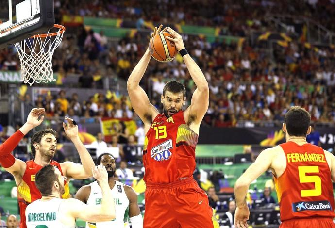 Marc Gasol, Brasil X Espanha (Foto: Agência EFE)